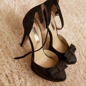 Black Glitter Bow Heels🖤